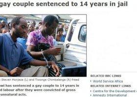 Malawijscy geje skazani na 14 lat więzienia