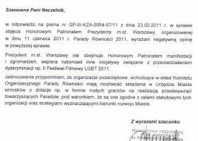 Parada Równości bez patronatu Hanny Gronkiewicz-Waltz