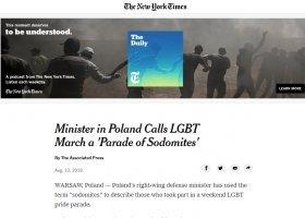 """Światowa prasa rozpisuje się o... """"sodomitach"""" Błaszczaka"""