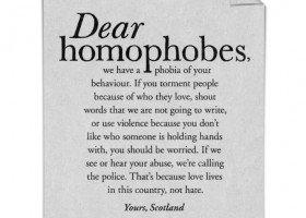 Szkocja pisze listy do homofobów i transfobów