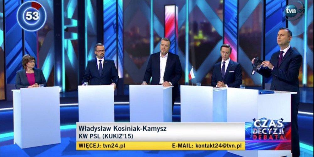 """Debata przedwyborcza w TVN24: Horała z PiS """"cytuje"""" artykuł 18 konstytucji"""