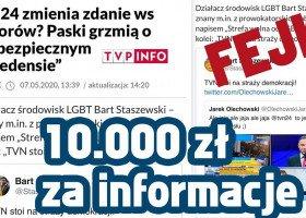 Staszewski wyznaczył nagrodę za informacje o fałszywym koncie