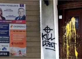 """""""Kill LGBT"""", """"Lewica won"""" - biura Lewicy w Ostrowie Wielkopolskim zniszczone."""