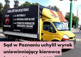 Nie ma zgody na szerzenie w społeczeństwie nienawiści - poznański sąd w sprawie kierowcy homofobicznej furgonetki